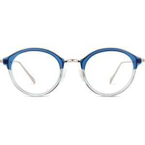 Saylor eyeglasses in Layered Shoreline Crystal with Polished Silver (Non-Rx)