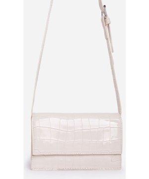 Nessa Envelope Cross Body Bag In White Croc Print Patent