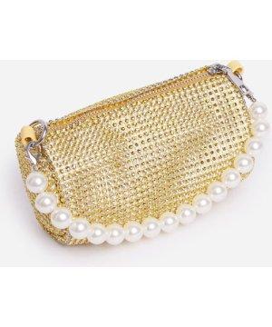 Alana Pearl Detail Baguette Bag In Gold