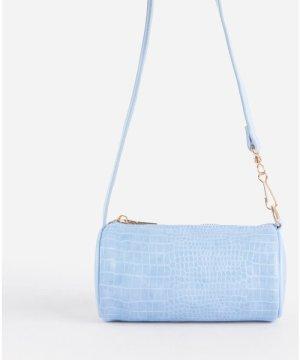 Alix Chain Detail Cylinder Shoulder Bag In Blue Croc Print Faux Leather