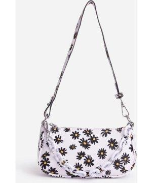 Spring Floral Print Baguette Shoulder Bag In White Faux Leather