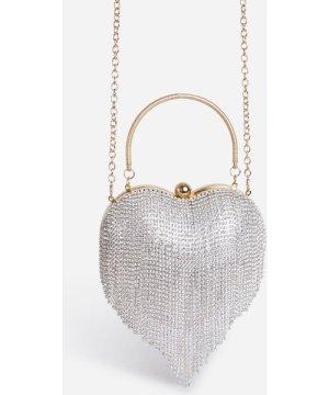 Lover Tassel Heart Bag In Silver Diamante