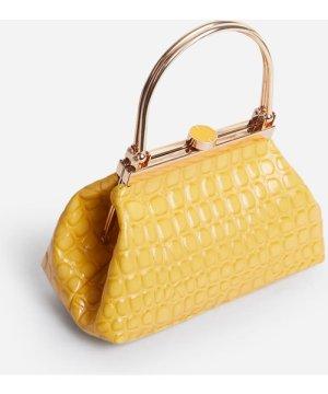 Monika Metallic Handle Clasp Detail Bag In Yellow Croc Print Patent