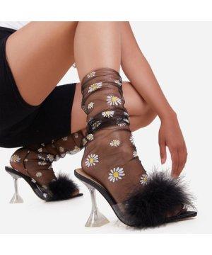 Daisy Print Socks In Black Mesh