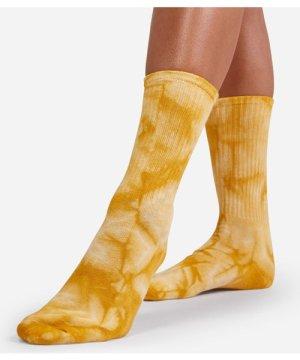 Ribbed Tie Dye Sport Socks In Yellow