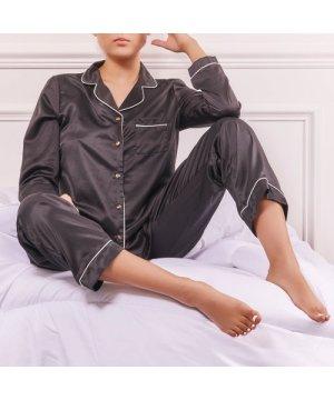 Long Sleeve Top And Trousers Pyjama Set In Black Satin UK XS