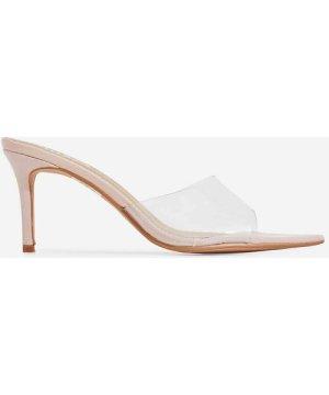 Maelle Pointed Peep Toe Clear Perspex Heel Mule In Nude Patent