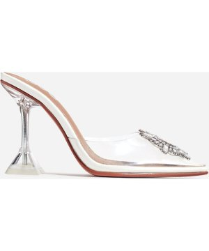 Midnight Diamante Detail Perspex Clear Heel Mule In White Faux Leather