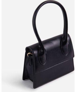 Wispy Single Handle Grab Bag In Black Faux Leather