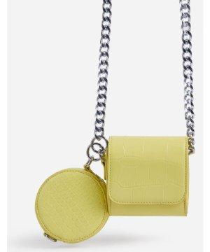 Dee-Dee Purse Detail Mini Cross Body Bag In Lime Green Croc Print Faux Leather