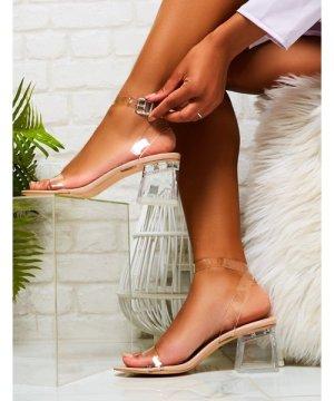 Afternoon Perspex Block Mid Heels in Nude Patent - US 10