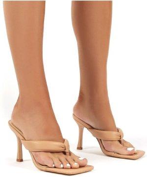 Blondie Nude Toe Thong Heel Sandals - US 8