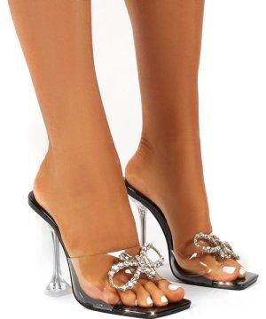 Giorgia Black Perspex Strap Diamante Bow Detail Heels - US 7