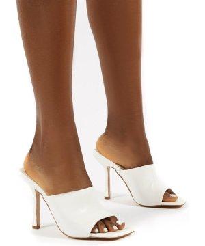 Zavia White Square Toe Mules Sandal Heels - US 7