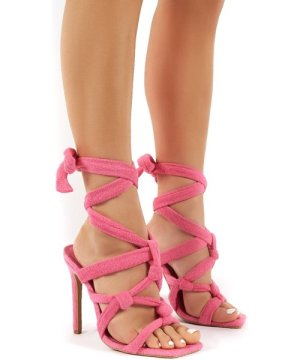 Convo Pink Towelling Knotted Lace Up Stiletto High Heels - US 5