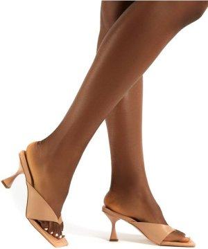Harlie Nude Toe Post Square Toe Heeled Mules - US 5