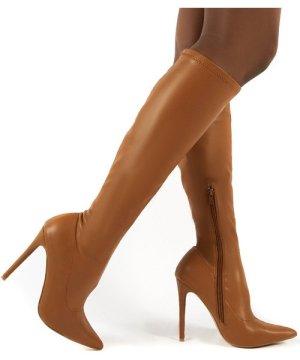 Ambition Camel PU Knee High Stiletto Heel Boots - US 7