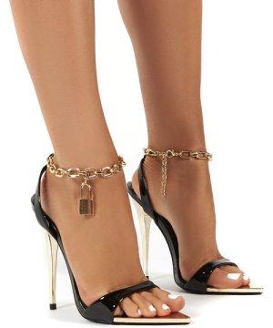 Triumph Black PU Lock Chain Detail Anklet Strap Stiletto Heels - US 6
