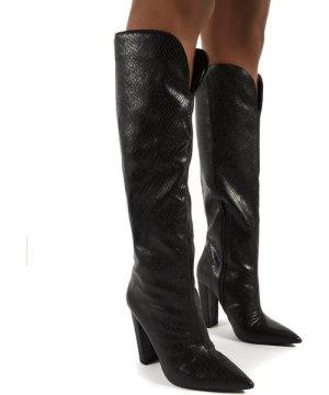 Slow Black Snake Knee High Block Heel Boots - US 6