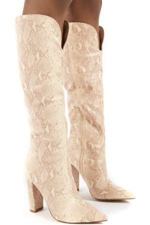 Slow Pink Snake Knee High Block Heel Boots - US 8