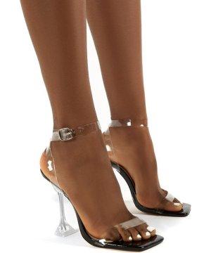 Yasmyn Black Patent Perspex Clear Strap Heels - US 7
