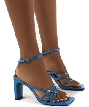 Charms Blue Square Toe Strappy Detail Block Heels - US 9