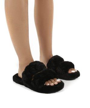 Minky Black Fluffy Double Strap Slippers - US 6