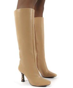 Repeat Nude Pu Heeled Knee High Boots - US 7