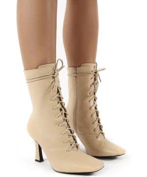 Bianco Camel Pu Lace Up Heeled Ankle Boots - US 6
