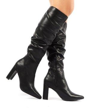 Mine Black PU Knee High Boots - US 8