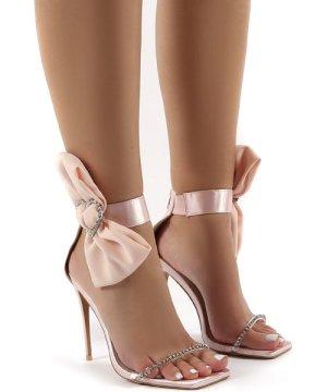 Moda Nude Square Toe Heart Diamante Stiletto Heels - US 8