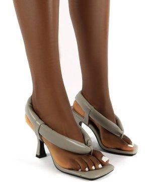 Alina Grey PU Square Toe Padded Toe Thong Heels - US 8