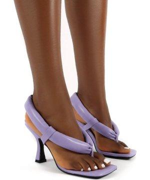 Alina Lilac PU Square Toe Padded Toe Thong Heels - US 7