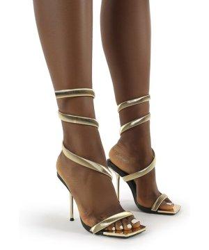 Axel Gold Ankle Wrap Around Stiletto Heels - US 8