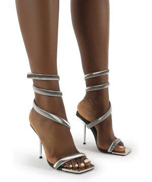 Axel Silver Ankle Wrap Around Stiletto Heels - US 6