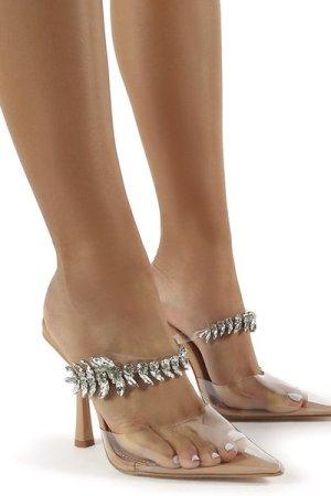 Girlfriend Nude PU Jewel Trim Point Toe Heeled Mules - US 9