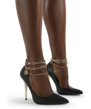 Luv Black Pu Lock Chain Anklet Stiletto Court Heel - US 8