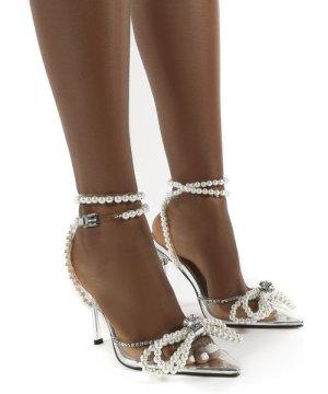 Pearla Clear Silver Peal Diamante Bow Heels - US 9