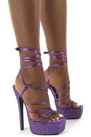 Rendezvous Purple Platform Square Toe Diamante Tie Ankle High Heels - US 6