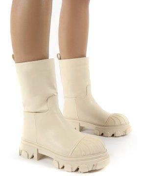 Showdown Cream Calf High Chunky Sole Boots - US 9