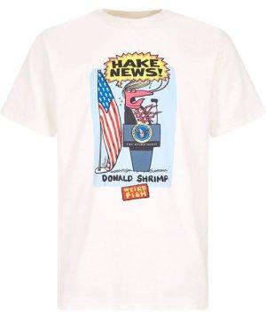 Weird Fish Hake News Front Print Artist T-Shirt Marshmallow Size 3XL