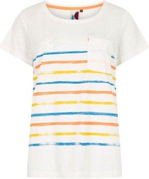 Weird Fish Faith Striped T-Shirt Light Cream Size 14