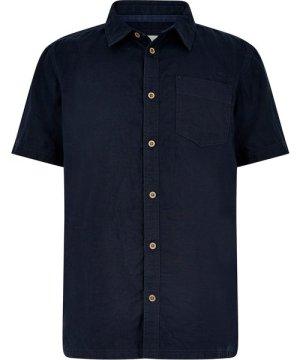 Weird Fish Woody Linen Blend Shirt Dark Navy Size 3XL