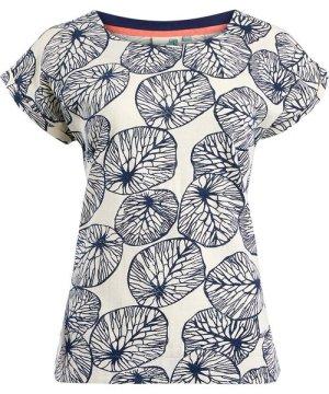 Weird Fish Thandi Patterened Cotton Jersey T-Shirt Light Cream Size 16