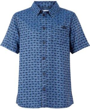 Weird Fish Crosby Printed Tencel Shirt Light Denim Size 4XL