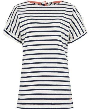 Weird Fish Esha Striped Jersey T-Shirt Light Cream Size 18