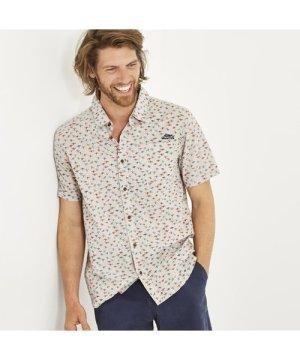 Weird Fish Elm Short Sleeve Patterned Shirt Soft Grey Size 2XL
