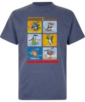Weird Fish Weird Birds Artist T-Shirt Blue Indigo Size L