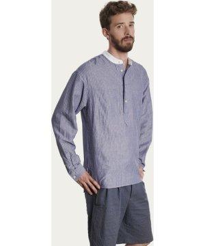 Blue Seersucker and White Collar Pop Over Shirt