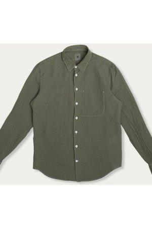 Feel Good Cotton Shirt in Green Italian Cotton
